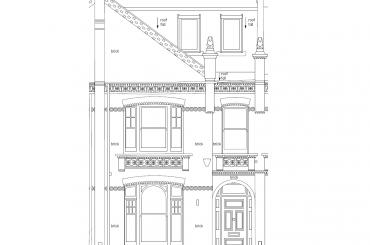 Front external elevation as-built plan